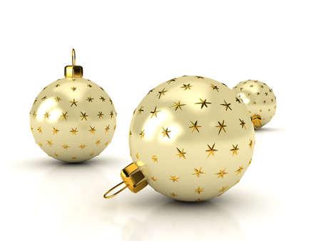 glass ornament: Christmas balls over white. 3d rendered image