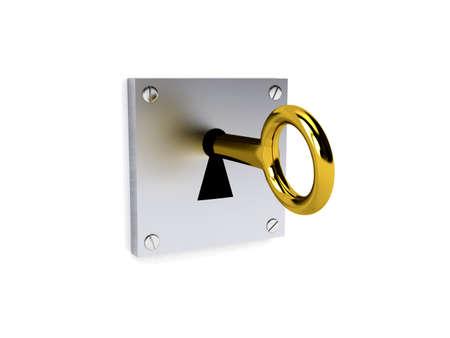 to lock: Gold key over white, immagine di rendering 3d Archivio Fotografico