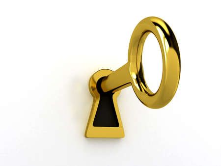 success concept: Gold key over white, 3d rendered image