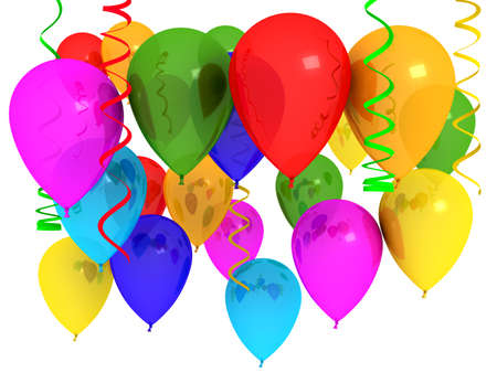 colored background: Bright ballons over white. 3d computer generated image