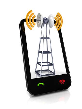 Antena mobile sur blanc. Concept de communication