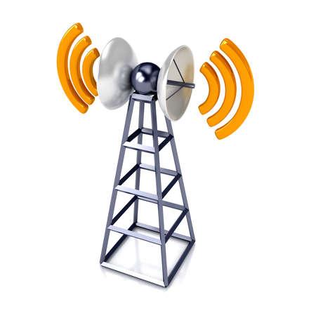 通信: 白で携帯電話のアンテナ。通信の概念 写真素材