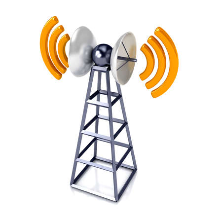 communications technology: Mobile antena over white. Communication concept