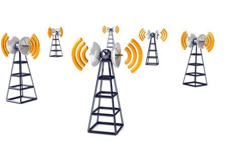 Mobiele antena over wit. Communicatie concept