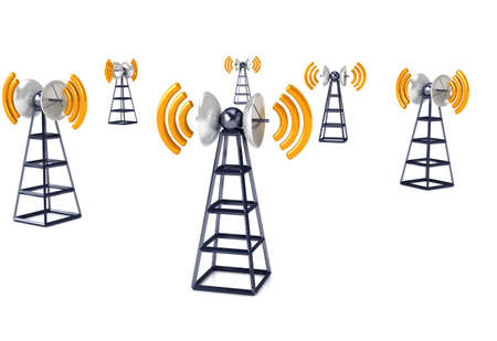 wireless: Mobile antena over white. Communication concept