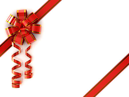 Red ribbon over white background. 3d photo