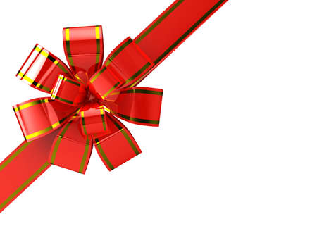 Red ribbon over white background. 3d Stock Photo - 8059009