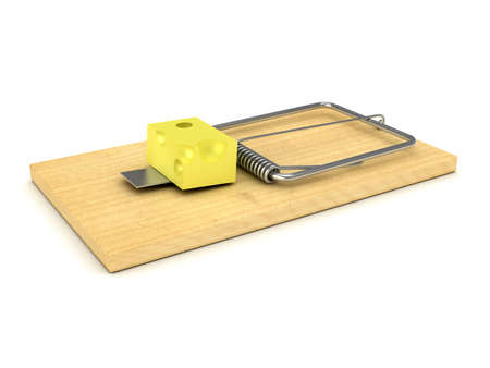 Wooden mousetrap over white background Stock Photo - 8118569