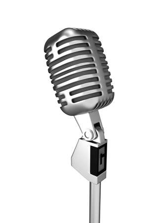 arts and entertainment: Retro metal microphone over white. 3d render Stock Photo