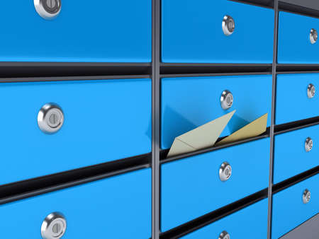 Blue mailboxes. 3d rendered image photo