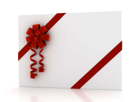 Greeting card with ribbon over white. 3d render