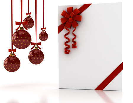 the christmas cards: Greeting card with ribbon over white. 3d render