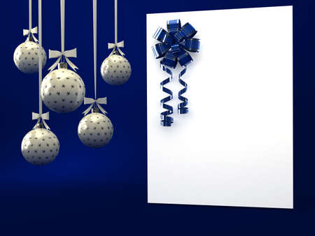 Greeting card with ribbon over blue. 3d render photo