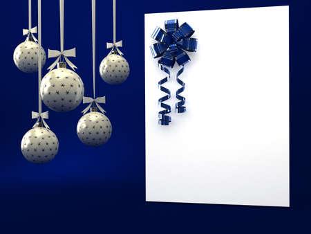 geburtstag rahmen: Gru�karte mit Band �ber blau. 3D render
