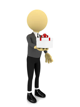 3d person with present over white. rendered image Stock Photo - 8357224