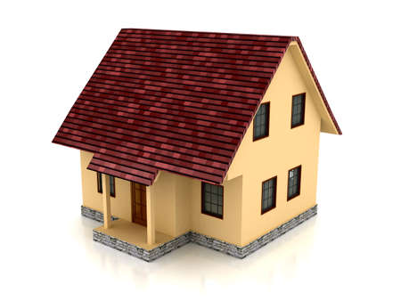 a small house: 3d house over white background. Computer generated image Stock Photo