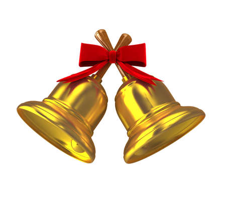 Gold christmas handbell over white. Computer generated image Stock Photo