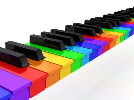 colored play: Rainbow piano over white background. computer generated image
