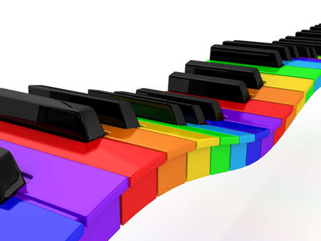 Rainbow piano over white background. computer generated image