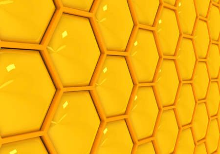 honeyed: 3d gold honeycombs . Computer generated image