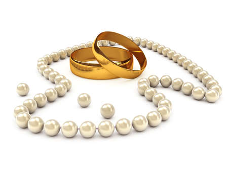 Pearls necklace with gold rings. Computer generated image