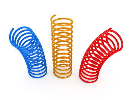 metal spring: Color metal spring over white background. 3d rendered image