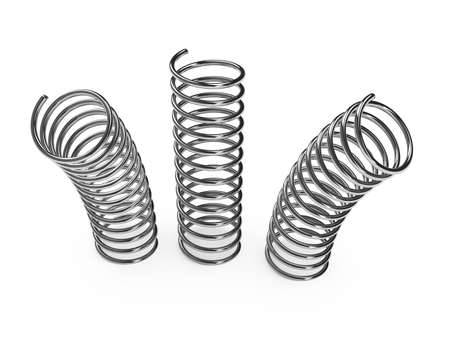 Chrome metal spring over white background. 3d rendered image