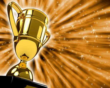 premios: Adjudicaci�n Copa sobre backgound blanco. Imagen generada por ordenador Foto de archivo