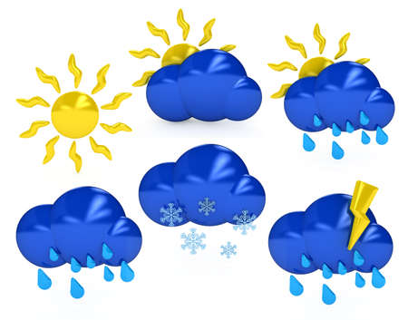 S�mbolos meteorol�gicos sobre fondo blanco. imagen generada por ordenador 3D Foto de archivo - 8604970