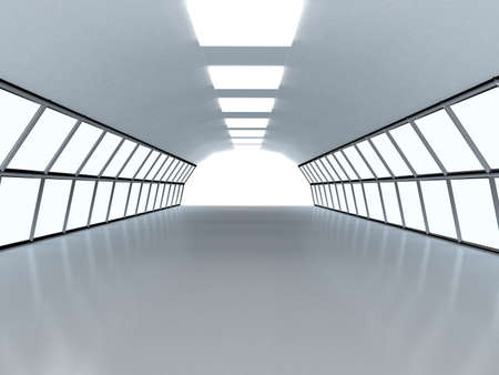 Tunnel with white wall. Computer generated image photo