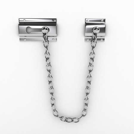 fermer la porte: Cha�ne porte sur fond blanc. image g�n�r�e par ordinateur Banque d'images