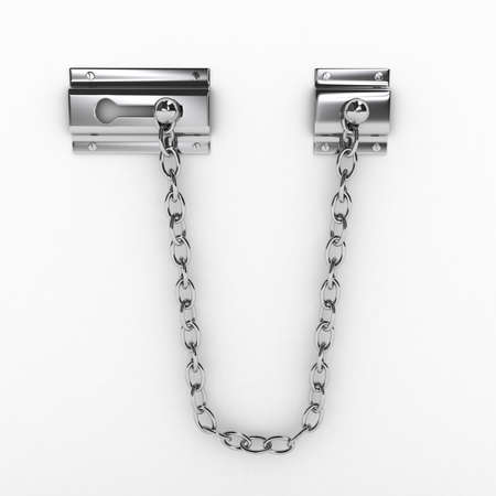 combination lock: Door chain over white background. computer generated image