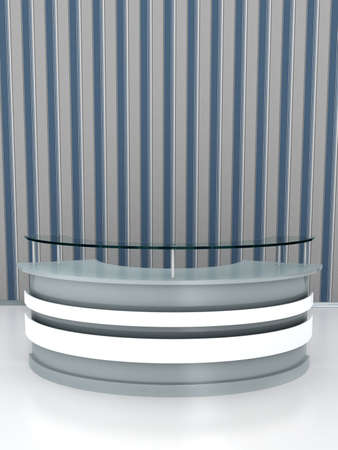 Reception table on white floor. Computer generated image Stock Photo