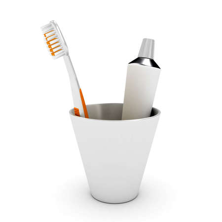 tooth brush: Tooth brush and paste in cap over white background