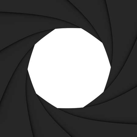 Photo diaphragm open over white. computer generated image
