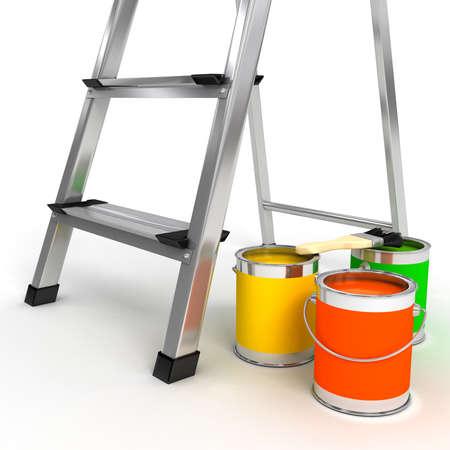 escaleras: abrir escalera sobre fondo blanco. imagen 3D Foto de archivo