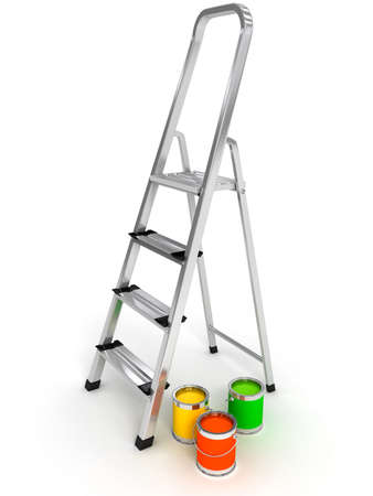 open staircase over white background. 3d rendered image Stock Photo - 9001984