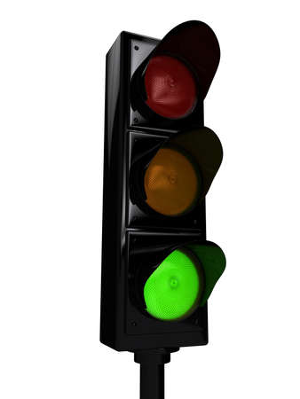 Traffic light over white background. 3d rendered image photo