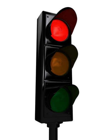 Traffic light over white background. 3d rendered image Stock Photo