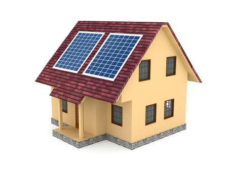 solarpanel: Solar battery over white background