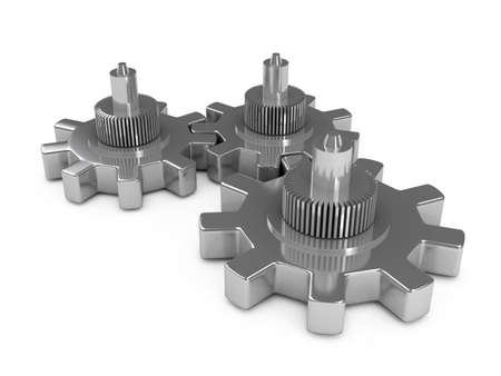 Gears over white background. 3d rendered image photo