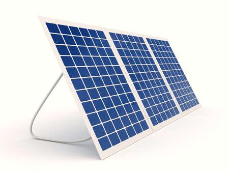 白い背景の上の太陽電池 写真素材