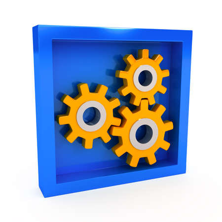 Gears over white background. 3d render Stock Photo - 9074031