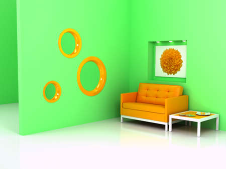 Orange sofa on white floor. Computer generated image photo