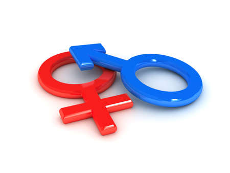 白い背景の上の性別の記号です。3 d レンダリングされたイメージ 写真素材