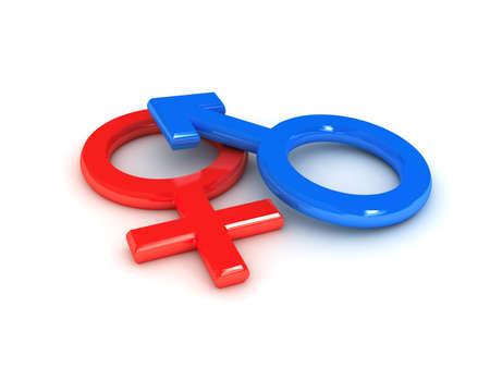 gender: gender symbol over white background. 3d rendered image