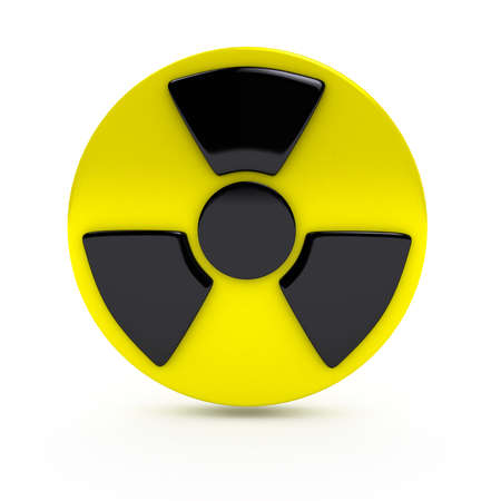 Radiation sign over white background. computer generated image