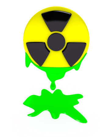 Radiation sign over white background photo