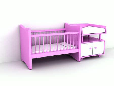 白い背景の上の新生児のベッド 写真素材