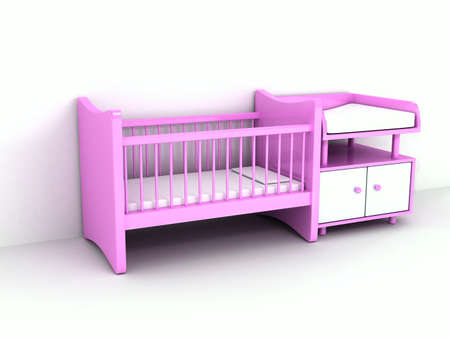 day bed: Newborns bed over white background